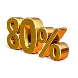 τρισδιάστατο χρυσό σημάδι έκπτωσης 80 ογδόντα τοις εκατό Στοκ Φωτογραφίες