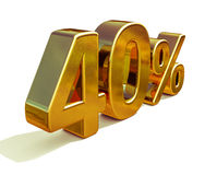 τρισδιάστατο χρυσό σημάδι έκπτωσης 40 σαράντα τοις εκατό Στοκ εικόνα με δικαίωμα ελεύθερης χρήσης