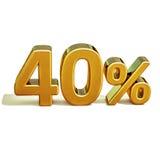τρισδιάστατο χρυσό σημάδι έκπτωσης 40 σαράντα τοις εκατό ελεύθερη απεικόνιση δικαιώματος