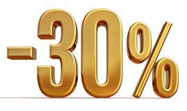 τρισδιάστατο χρυσό σημάδι έκπτωσης 30 τοις εκατό Στοκ Εικόνες