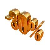 τρισδιάστατο χρυσό σημάδι έκπτωσης 30 τοις εκατό Στοκ Φωτογραφία