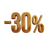 τρισδιάστατο χρυσό σημάδι έκπτωσης 30 τοις εκατό Στοκ Εικόνα