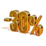 τρισδιάστατο χρυσό σημάδι έκπτωσης 30 τοις εκατό Στοκ Φωτογραφίες