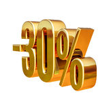 τρισδιάστατο χρυσό σημάδι έκπτωσης 30 τοις εκατό Στοκ εικόνα με δικαίωμα ελεύθερης χρήσης