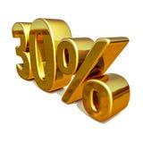 τρισδιάστατο χρυσό σημάδι έκπτωσης 30 τριάντα τοις εκατό Στοκ φωτογραφίες με δικαίωμα ελεύθερης χρήσης