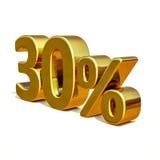 τρισδιάστατο χρυσό σημάδι έκπτωσης 30 τριάντα τοις εκατό Στοκ Φωτογραφία