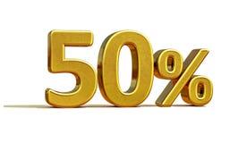 τρισδιάστατο χρυσό σημάδι 50 τοις εκατό Στοκ Φωτογραφίες