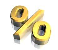 τρισδιάστατο χρυσό σύμβολο τοις εκατό Στοκ Εικόνες
