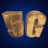 τρισδιάστατο χρυσό 5G εικονίδιο στο μπλε Στοκ εικόνα με δικαίωμα ελεύθερης χρήσης