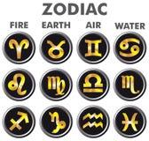 τρισδιάστατο χρυσό zodiac σημαδιών απεικόνισης Στοκ φωτογραφία με δικαίωμα ελεύθερης χρήσης