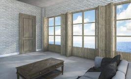 τρισδιάστατο δωμάτιο απόδοσης στη βίλα κοντά στη θάλασσα Στοκ Φωτογραφίες