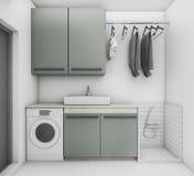 τρισδιάστατο δωμάτιο πλυντηρίων απόδοσης όμορφο με τον καθαρό όρο Στοκ φωτογραφίες με δικαίωμα ελεύθερης χρήσης