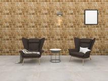 τρισδιάστατο δωμάτιο τούβλου σοφιτών απόδοσης με την πολυθρόνα και τον όμορφο λαμπτήρα Στοκ Φωτογραφία