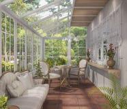 τρισδιάστατο δωμάτιο τσαγιού απόδοσης όμορφο με το σχέδιο σπιτιών γυαλιού Στοκ φωτογραφία με δικαίωμα ελεύθερης χρήσης