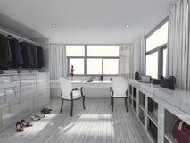 τρισδιάστατο δωμάτιο φορεμάτων απόδοσης καταπληκτικό άσπρο Στοκ Εικόνες