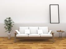 τρισδιάστατο δωμάτιο ύφους απόδοσης ελάχιστο με τον εκλεκτής ποιότητας πάγκο ύφους Στοκ φωτογραφία με δικαίωμα ελεύθερης χρήσης