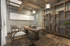 τρισδιάστατο δωμάτιο ύφους απόδοσης κινεζικό παραδοσιακό με τα συμπαθητικά έπιπλα Στοκ Φωτογραφία