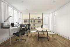 τρισδιάστατο όμορφο ξύλινο λειτουργώντας δωμάτιο απόδοσης Στοκ φωτογραφίες με δικαίωμα ελεύθερης χρήσης