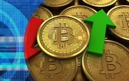 τρισδιάστατο bitcoin πάνω-κάτω τα βέλη Στοκ Εικόνες