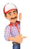 τρισδιάστατο Handyman που δείχνει κατά μέρος με το δάχτυλο Στοκ Εικόνες