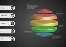 τρισδιάστατο infographic πρότυπο απεικόνισης με τρεις κυλίνδρους μεταξύ δύο κώνων που τακτοποιούνται οριζόντια Ελεύθερη απεικόνιση δικαιώματος