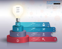 τρισδιάστατο infographics υπόδειξης ως προς το χρόνο λαμπών φωτός με τα εικονίδια καθορισμένα διάνυσμα illu Στοκ Φωτογραφία