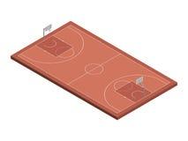 τρισδιάστατο isometric γήπεδο μπάσκετ, απομονωμένη διανυσματική απεικόνιση Στοκ Φωτογραφίες