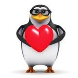 τρισδιάστατο Penguin αγκαλιάζει μια καρδιά Στοκ Εικόνες