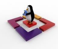 τρισδιάστατο penguin με το ερωτηματικό και την τετραγωνική έννοια κιβωτίων Στοκ εικόνες με δικαίωμα ελεύθερης χρήσης