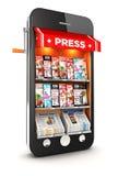 τρισδιάστατο smartphone περίπτερων εφημερίδων Στοκ Εικόνες