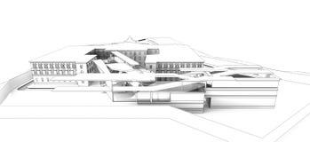 τρισδιάστατο wireframe της οικοδόμησης Στοκ Εικόνα