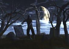 τρισδιάστατο zombie σε ένα νεκροταφείο ελεύθερη απεικόνιση δικαιώματος
