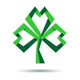 Τριφύλλι εγγράφου, trefoil εικονίδιο τριφυλλιού για την ημέρα του ST Patricks Στοκ Εικόνες