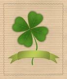 Τριφύλλι με τέσσερα φύλλα στο χαρτόνι Διανυσματική απεικόνιση