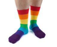 Τριχωτά πόδια ατόμων στη χρωματισμένη ριγωτή διασκέδαση καλτσών απομονώστε Στοκ Εικόνες