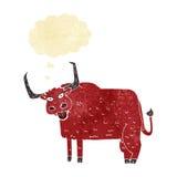 τριχωτή αγελάδα κινούμενων σχεδίων με τη σκεπτόμενη φυσαλίδα Στοκ Φωτογραφίες