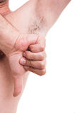 Τριχωτή μασχάλη ατόμων Stinky με τον αντίχειρα κάτω από τη χειρονομία Στοκ Εικόνα