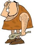 Τριχωτός caveman με μια λέσχη Στοκ Φωτογραφίες