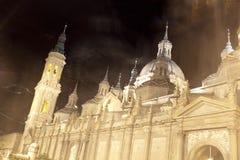 Τριχώδης καθεδρικός ναός EL και ένα φάντασμα σε Σαραγόσα, Ισπανία Στοκ Εικόνα