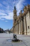 Τριχώδες τετράγωνο Plaza del σε Σαραγόσα, μπροστά από Basilica de Nue Στοκ Φωτογραφίες