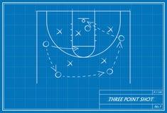 Τριών σημείων πυροβολισμός καλαθοσφαίρισης στο σχεδιάγραμμα Στοκ φωτογραφία με δικαίωμα ελεύθερης χρήσης