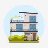 Τριώροφο σπίτι σε ένα επίπεδο σχέδιο Διανυσματική απεικόνιση