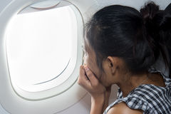 Τρομαγμένος επιβάτης σε ένα αεροπλάνο Στοκ φωτογραφίες με δικαίωμα ελεύθερης χρήσης