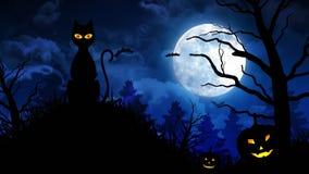Τρομακτική γάτα και φεγγάρι στο μπλε υπόβαθρο ελεύθερη απεικόνιση δικαιώματος