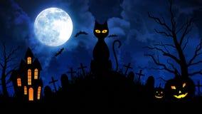 Τρομακτική γάτα και Castle και φεγγάρι στο μπλε υπόβαθρο διανυσματική απεικόνιση