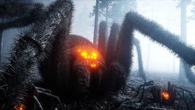 Τρομακτική gigant αράχνη στο δασικούς φόβο και τη φρίκη νύχτας ομίχλης Mistic και έννοια αποκριών τρισδιάστατη απόδοση απεικόνιση αποθεμάτων