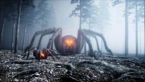 Τρομακτική gigant αράχνη στο δασικούς φόβο και τη φρίκη νύχτας ομίχλης Mistic και έννοια αποκριών τρισδιάστατη απόδοση διανυσματική απεικόνιση