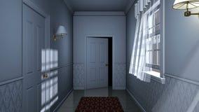 Τρομακτικός διάδρομος σπιτιών απόθεμα βίντεο