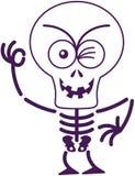 Τρομακτικός σκελετός αποκριών που κλείνει το μάτι και που κάνει ένα ΕΝΤΑΞΕΙ σημάδι Στοκ εικόνες με δικαίωμα ελεύθερης χρήσης