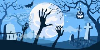 Τρομακτικό νεκροταφείο προτύπων έννοιας απεικόνισης αποκριών διανυσματικό ελεύθερη απεικόνιση δικαιώματος